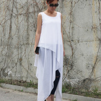 Chiffon Tunic, Party Top, Sexy Tunic, Tunic Top, White Tunic, Fashion Top, Asymmetric Tunic, Trendy Blouse, Long Tunic Dress, T17317