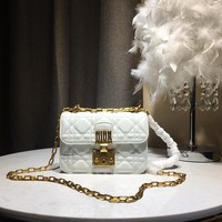 Kuyou Gb59819 Dior Envelope Chain Bag In White Quilted Leather With Cd Clasp 20*10*9cm