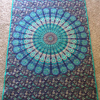"""Blue mandala peacock tapestry blanket/ Handmade tapestry quilt/ boho chic bohemian gypsy blue and teal twin blanket size 50 1/2"""" x 82"""""""