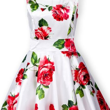 Sheinside Women's White Sleeveless Bandeau Floral Tank Dress Jumper Skirt Dress