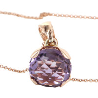 Amethyst 14 Karat Rose Gold Vintage Pendant Necklace Estate Fine Jewelry Heirloom