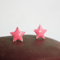 Pastel Pink Little Star Silver Stud Earring 92.5% Sterling Silver, Cartilage Piecing Silver Post Charm Kids Jewelry Bridesmaid Gift under 10