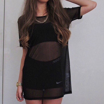 Black Baggy Mesh Oversized Dress Tee T-shirt Sheer Top one size fit UK 4 6 8 10 12