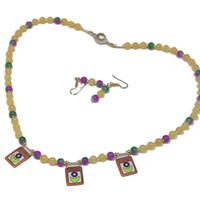 Jade Bead Necklace, Enamel Charms, Yellow Jade, Multicolor Jade, Choker, Magnetic Clasp, Multicolor Bead Necklace, Free Earrings,  For Her