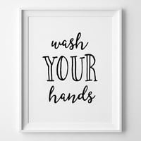 Wash Your Hands Print, Nursery Decor, wall art, kids room decor, poster, black and white, scandinavian poster, nursery prints