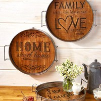Rustic Country Metal & Wood Tray Functional & Decorative Engraved Saying
