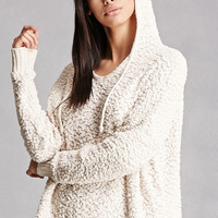 Fuzzy Knit Hooded Sweater