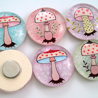 Cute Mushroom Magnets - Pastels - Set of Six One Inch Magnets