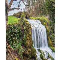 Tapestry Waterfall Wall Hanging Forest Wall Art Prints Scenery for Living Room and Bedroom Girls Dorm Room Accessories Home Decor with One of a Kind Machine Washable Shiny Silky Satin, Green White