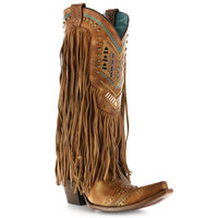 Corral Women's Square Toe Aztec And Fringe Western Boots