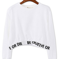 White Letter Print Long Sleeve Cropped Sweatshirt