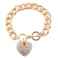 Goldtone with Clear Iced Out Heart 8.5 Inch Cuban Link 12mm Toggle Bracelet