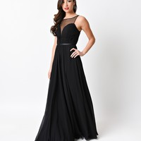 Black Chiffon Illusion Sweetheart Long Gown 2016 Prom Dresses