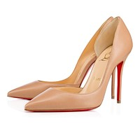 Cl Christian Louboutin Iriza Nude Leather 100mm Stiletto Heel 13w