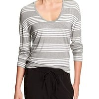 Banana Republic Womens Factory Stripe Hi Lo Soft Tee