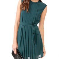 Pleated Buttoned Shift Dress