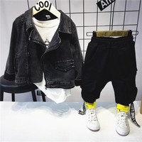 Trendy Toddler Infant Kids Baby Boys Clothes Sets denim jacket + T-shirt +pants Spring&Autumn Outfit Clothing Set 2-6years AT_94_13