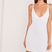 Missguided - Plunge Ribbed Bodycon Dress White