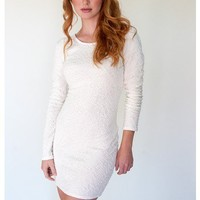 Long Sleeve White Textured Bodycon Dress with Keyhole Back