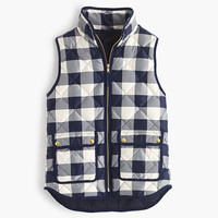 J.Crew Womens Petite Excursion Quilted Vest In Buffalo Check