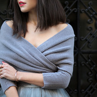 One Size Fall Fashion Grey Off the Shoulder Crop Knit Sweater