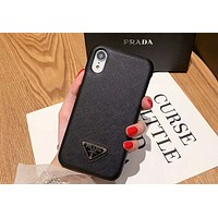 PRADA Tide brand new leather case hard shell iPhoneXsMax phone case Black