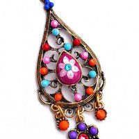 Colorful Boho Necklace Painted Flower Beaded Chain Bohemian Jewelry FREE SHIPPING