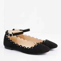 Black Scalloped Ankle Strap Ballet Flat By Qupid   Ballet   rue21
