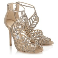 Nude Mix Suede and Hotfix Crystal Sandals   Kallai   Spring Summer 2014   JIMMY CHOO Sandals