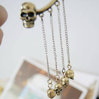 Single skull ear cuff fit for left ear skull dangle tassel earring for pierced ear ear bones folder ear Stud trending gifts