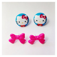 Handmade Hello Kitty Blue and Pink Fabric Earrings and Hot Pink Tie Bow Set