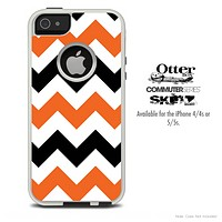 The Orange & Black Chevron Skin For The iPhone 4-4s or 5-5s Otterbox Commuter Case