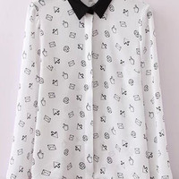 Arrow Hand Print Long Sleeve Pointed Flat Collar Blouse