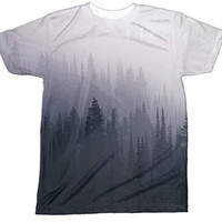 Dark Forest Shirt | Dark Mountain Shirt | Creepy Emo Goth Evil Shirt | Nature Foggy | All Over Sublimation Print | HD Front and Back Tshirt
