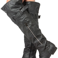 Black Faux Leather Over the Knee Biker Boots
