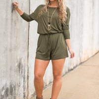 The Poolside Romper, Olive