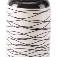 Stripes Short Vase Black & Ivory