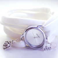 Pick your Color OVAL Silver Wrap Watch with ROSE Charm Bracelet Wrist Watch Fashion accessory Women Teens Wrist Tattoo Cover