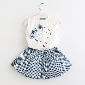 Girls Clothing Sets Summer Sleeveless T-shirt+Print Bow Pants for Kids Clothing Sets Baby Clothes