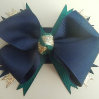 Notre Dame Fighting Irish Hair Bow Blue and Gold