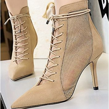 Hot style cross strap with suede head mesh lacing ankle boot shoes