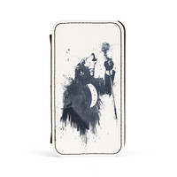 Wolf Song 3 Premium Faux PU Leather Case Flip Case for Apple iPhone 4 / 4s by Balazs Solti