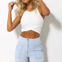 Plain Strappy Crop Top