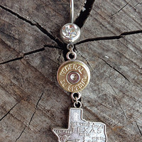 Bullet jewelry. Texas belly button ring with bullet casing