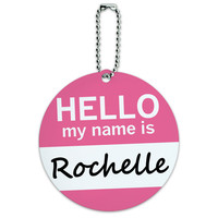 Rochelle Hello My Name Is Round ID Card Luggage Tag