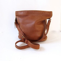 Vintage brown leather authentic COACH bucket bag purse