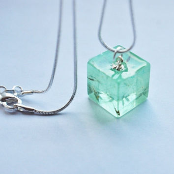 Dandelion Necklace Tiny Green Cube Make a by NaturalPrettyThings