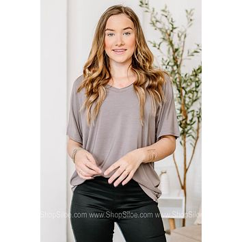 V Neck Basic Top | Grey