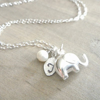 Elephant Necklace in Sterling Silver  Personalized by Beazuness