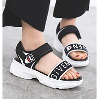 Givenchy X FILA X Champion Fashion Women Personality Comfortable Thick Sole Sandal Slipper Shoes Black I12231-1